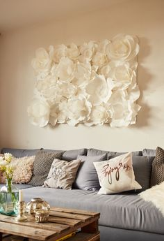 FLORICA PAPERFLOWER WALL 100x140cm - Dekoration im Wohnzimmer
