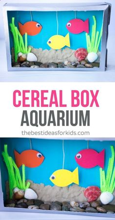 This Cereal Box Aquarium kids craft is so much fun to make! Use sea shells, stones, sand, pipe cleaners and make fish to create your own aquarium! via Kim | The Best Ideas for Kids