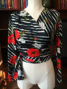 Vintage Long Sleeve Floral Wrap Top
