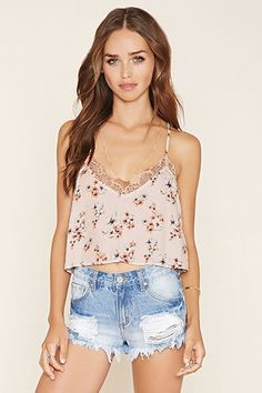 Lace-Paneled Floral Cami | Forever 21 - 2000153142
