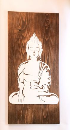 Custom listing for Monica - Personalized Buddha artwork on wood, White paint, The Buddha wall art Buddha Artwork, Buddha Wall Art, Buddha Painting, Painting On Wood, Handmade Bedside Tables, Rustic Tv Console, Retro Sideboard, White Paints, Buddhism