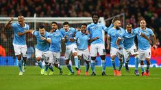 City players celebrate after Yaya Toure slotted home the winning penalty in the 2016 league cup final at wembley