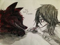 Jeff The Killer and smile dog are so cute! But how is Jeff's eyelids halfway down he dosent even have them!