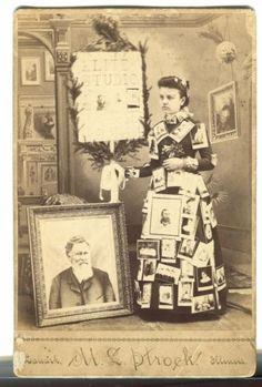 CABINET-PHOTOGRAPH-ADVERTISES-PHOTOGRAPHER-LANARK-ILLINOIS-LADY-DRESSED-W-PHOTOS