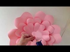 Learn how to create a lovely hanging rosette fan with paper flowers for any special event. How to make paper flowers- Easy Paper flower tutorial- DIY Paper f. Big Paper Flowers, Paper Flower Backdrop, Giant Paper Flowers, Paper Roses, Diy Flowers, Diy Backdrop, Wedding Flowers, Wall Flowers, Backdrop Wedding