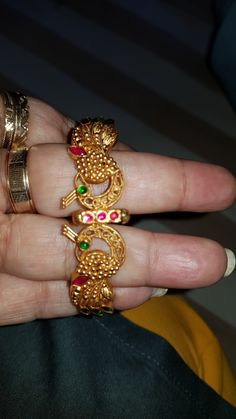 Diamond and ruby bangles Kids Gold Jewellery, Buy Gold Jewellery Online, Gold Temple Jewellery, Gold Rings Jewelry, Golden Jewelry, Gold Jewellery Design, Body Jewellery, Jewelry Stand, Jewelery