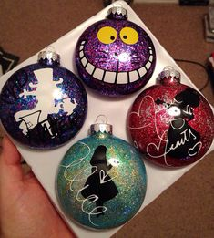 Alice in Wonderland glass ornaments