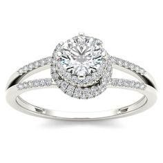 De Couer 14k White Gold 3/4ct TDW Diamond Split-Shank Halo Engagement Ring (H-I I2) (Size-6) Women's