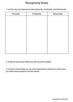 stress management worksheets | Handout Stress Management Workshop ...