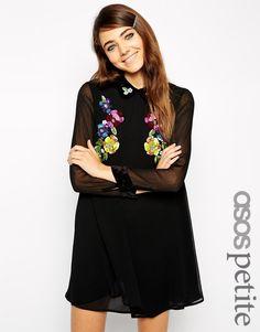 Image 1 ofASOS PETITE Exclusive Embellished Swing Dress with Velvet Collar