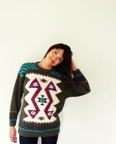 Tribal Vintage Slouchy Sweater/80s Navajo Print Oversized Knit Sweater/BoHo Sweater
