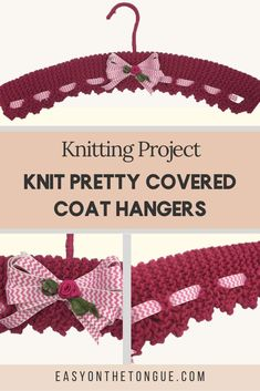 How to Knit Pretty Covered Coat Hangers, Free Pattern - Coat hanger Slip Stitch Crochet, Crochet Coat, Knitted Coat, Knitting Patterns Free, Free Knitting, Free Pattern, Beginner Knitting, Pattern Sewing, Stitch Patterns