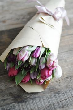 Tulips in brown paper. Perfectly presented.