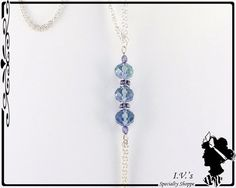 Blue Crystal Bead Pendant Necklace by IVsSpecialtyShoppe on Etsy