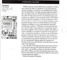 Crítica de Helena González sobre «Cidades», de Fran Alonso, revista Lateral, Barcelona, novembro 1997.