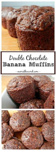 Double Chocolate Banana Muffins are a perfect on the go breakfast, snack or even dessert! Chocolate for breakfast is always a winner in our house and the addition of the banana makes these a slam dunk! Muffin Tin Recipes, Baking Recipes, Cake Recipes, Dessert Recipes, Bread Recipes, Cupcakes, Cupcake Cakes, Chocolate Banana Muffins, Chocolate Desserts