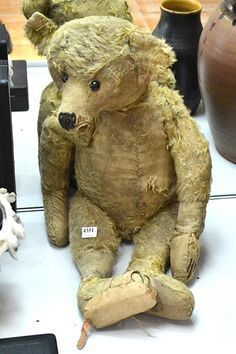 Buy online, view images and see past prices for A WELL-LOVED STIEFF BEAR. Invaluable is the world's largest marketplace for art, antiques, and collectibles. Old Teddy Bears, Steiff Teddy Bear, Antique Teddy Bears, My Teddy Bear, Antique Toys, Vintage Toys, Plush Animals, Stuffed Animals, Video Chat