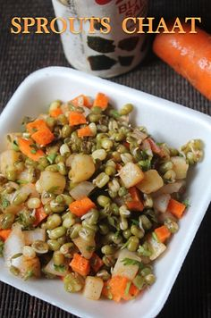 Moong Sprouts Chaat Recipe - Sprouts Salad Recipe - My list of the most healthy recipes Sprout Recipes, Veg Recipes, Vegetarian Recipes, Cooking Recipes, Snacks Recipes, Recipies, Vegetarian Lunch, Quick Snacks, Vegetarian Cooking