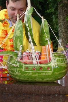 watermelonboat pattern | We had a tropical bar and a watermelon pirate ship (carved by my ...