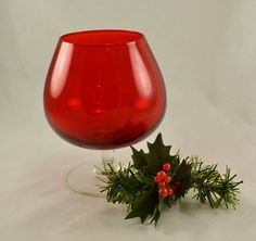 Empoli Art Glass Ruby Red Glass Brandy Snifter by ChicMouseVintage $35