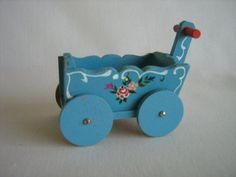 Rare Dora Kuhn Blue Flowered STROLLER or WAGON West by TheToyBox