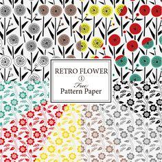 Retro Flowers, Pattern Paper, Printing On Fabric, Free Pattern, Print Patterns, Wraps, Instagram Posts, Design, Drawing