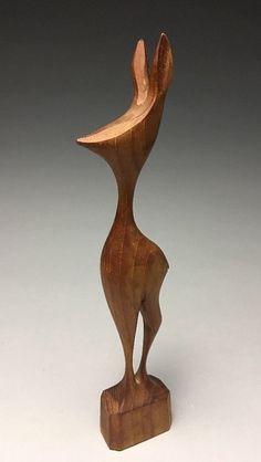 Mid Century Modern Danish Denmark Carved Teak Wood Deer Figurine Sculpture | eBay