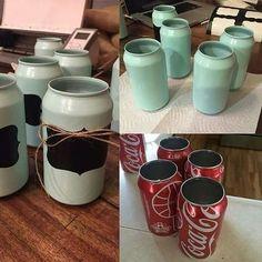 """Festa infantil • Blog de festa on Instagram: """"Olha que máximo essa ideia para reutilizar latinhas de refrigerantes 💖  Da para usar na decoração da mesa, como o centro na mesa dos…"""""""