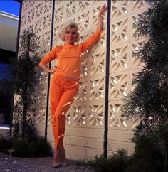 Marilyn Monroe - and the bricks she's leaning on OMG!!  Molded concrete blocks/bricks. These are quite common in mid-century structures & gardens in California & the southwest.