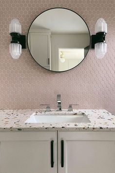 Pretty in porcelain 💁♀️💅 Little pink hexagons go a long way in this Indiana bathroom design by @shalmaikeim featuring the #gardenstatetile Hexa Collection Matte Mosaics in Rosy Blush. Bathroom Design Inspiration, Blush, Hexagons, Mirror, Mosaics, Indiana, Porcelain, Furniture, Pretty
