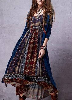 Bohemian Chiffon Dress |  Bohemian Chiffon Dress Sleeve Style: Lantern SleeveMaterial: Cotton,PolyDresses Length: Ankle-Leng | Primary View | Sassy Posh