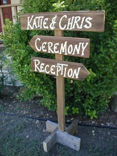Pole Post Wood Wedding Sign Free Standing Bridal Personalized Names Three Boards…