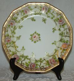 Nippon China, White/Roses Oval Dish with Handles, Hand Painted Pink ...