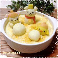Mashed new potatoes and mashed sweet potato and Doria    #food #bento #rilakkuma