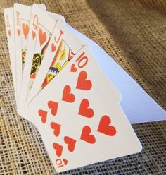 SET OF 10 Vegas Poker Thank You Cards  Folded by WoodlarkDesigns, $15.00