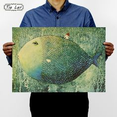 TIE LER Big Fish Small House Kraft Paper Poster Children Bedroom Adornment Frameless Retro Vintage Poster Wall Sticker