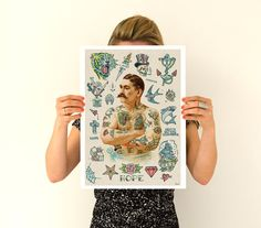 Old school Tattoo inspired design wall art poster Wall decor- Tattoo Art, Giclee Poster, home and living art, Wall Hanging art PWT204