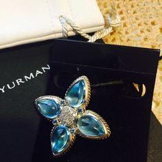 David yurman blue topaz flower Yurman blue topaz pendant tear drop pave center. Purchased in 2009 . Worn few times David Yurman Jewelry