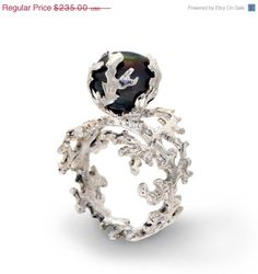 25 off SALE  CORAL Black Pearl Ring Sterling by AroshaTaglia, $176.25