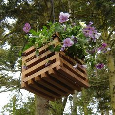 Hanging Basket Planter from Reclaimed Wood by andrewsreclaimed