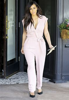 Kim Kardashian Shows Off Curves In Pink Cleavage-Baring Romper: Photo - Us Weekly