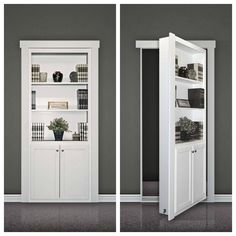 A flush-mount Murphy Door kit looks like a built-in bookcase when the door is closed (closet doors) Hidden Rooms In Houses, Hidden Spaces, Hidden House, Hidden Door Bookcase, Diy Bookshelf Door, Hidden Doors In Walls, Bookcase Closet, Hallway Closet, Sliding Shelves
