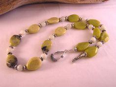 Lemon Jade Necklace, Gemstone Jewelry, Stone Bead Necklace