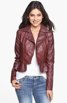 Collection B Faux Leather Peplum Moto Jacket (Juniors) available at #Nordstrom
