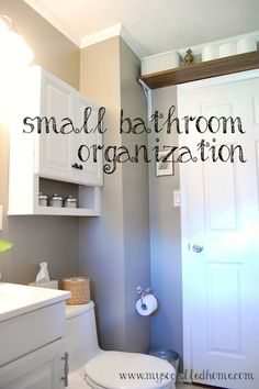 small bathroom organization...on a budget! I like that they painted the inside cabinet door with chalk paint for cute messages..... For the kids!!