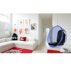 fine mod imports eero aarnio style bubble hanging chair blue cushion red cushions hanging chair and bubbles