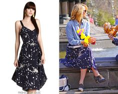 """Dianna Agron on the set of Glee, New York City, April 26, 2011 Vena Cava """"Mud"""" Star-Print Silk Dress- No longer available Worn with: Chanel sunglasses, MaxMara bag, Anthropologie oxfords Also worn in:..."""