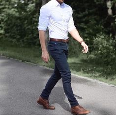 02 navy jeans, a white fitted shirt and brown leather shoes - Styleoholic