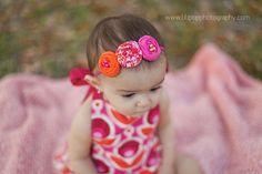Pink and Orange Headband. Birdie Baby Boutique.