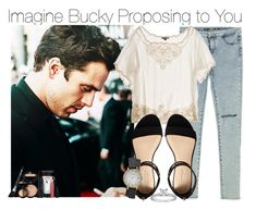 """Imagine Bucky Proposing to You"" by fandomimagineshere ❤ liked on Polyvore featuring Sebastian Professional, Zara, Mes Demoiselles..., Carvela, Olivia Burton, Blue Nile and Laura Geller"